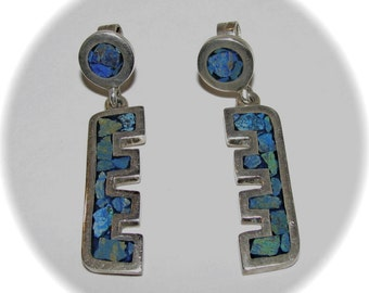 Vintage SILVER TURQUOISE Chips Abstract Modernist Chunky MEXICO 925 Pierced Earrings
