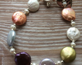 Multi Coloured Fresh Water Coin Pearl Bracelet UK Made