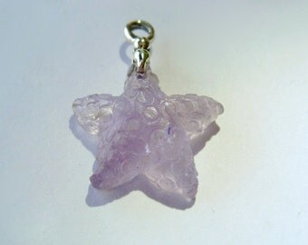 Starfish Carved Natural Lavender Amethyst Pendant.
