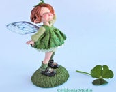 Miniature Art Doll Sculpted From Polymer Clay, Pure Art Sculpture, ooak, The Green Fairy, St. Patrick's Day