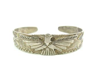Fred Harvey Silver Cuff. Navajo Thunderbird Bracelet. Hand Stamped. Applied Sterling Friendship Arrows. Vintage Native American Jewelry