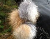 Gold Fox Trio Pom Pom Tassle Keychain Handbag Charm