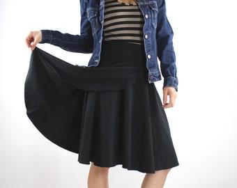 Medium Size ON SALE Faux Wrap Skirt Solid Black Circle skirt Hemp Organic Cotton ecofriendly skirts high waisted skirt yoga skirt spa skirt