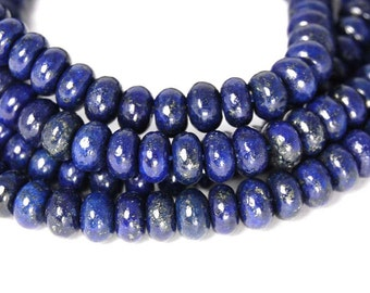6x4mm Lapis Lazuli Rondelle Beads   -15 inch strand