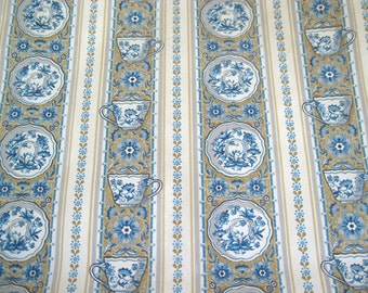 Vintage 1960s Kitchen Wallpaper Roll Blue Teacups Saucers White Tan Delft