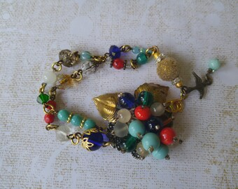 Upcycled bracelet, repurposed, rockabilly, festival, hippie chic, vintage, one of a kind jewelry