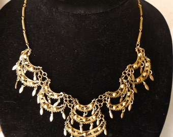 Antique Cannetille Filigree Necklace Gilt Statement Bib Circa 1900