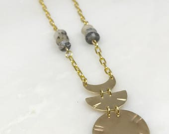 Brass Moon Phase Necklace | Moon Necklace | Moon Phase | Bohemian Jewelry