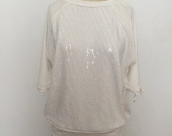 White Sequins Top Batwing Dolman Sleeve Raglan Top Loose Fit Tshirt with Tie 3/4 Sleeve Sparkly Sequins Top Handmade top (Made to Measure)