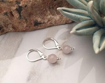 Rose Quartz - Sterling Silver - Earrings