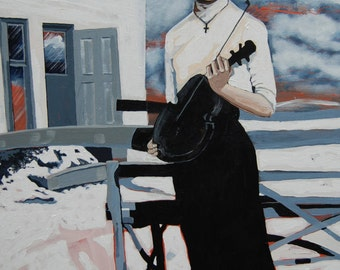 Vintage Grandmother and violin, fiddle. Historical painting. Print
