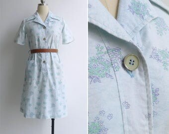 Vintage 70's Shabby Chic 'Floral Bouquets' Baby Blue Shirt Dress S