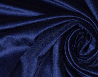 Navy blue stretch velvet