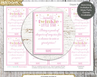 Twinkle Twinkle Diaper Raffle Baby Shower Game - Instant Download - Twinkle Twinkle Baby Shower - Twinkle Star Baby Shower Diaper Raffle