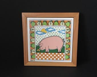 Framed Tile Pig Theme Himark Tile