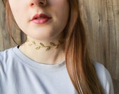Silver or gold laurel leaf choker necklace | Wine leaf choker | Simple choker | Trendy jewelry | Summer bohemian boho festival jewelry |