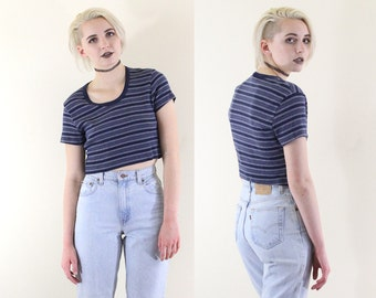 Ribbed 90s Grunge Striped Ringer Tee, Short Sleeve Crop Top, Baby Rib 90s Grunge Crop Top, Women's Size X-Large