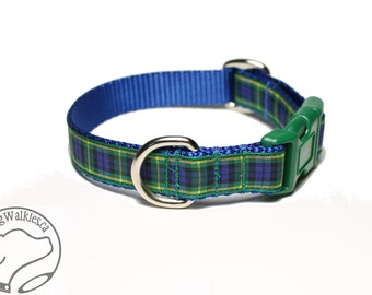 "Gordon Clan Tartan Dog Collar - 3/4"" (19mm) Wide - Choice of size & style - Martingale or Quick Side Release // Blue and Green Plaid"