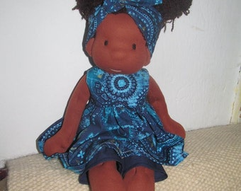 "Waldorf doll, african doll, 16"" tall doll, fabric doll, cloth doll, handmade, #gift for girls and boys"