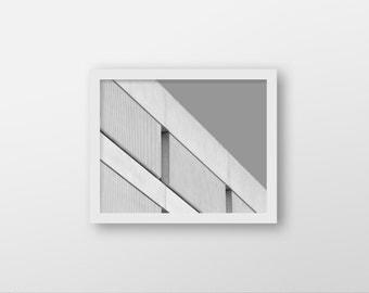 A GREY SLANT | Geometric photo art print | grey architecture photo | black and white brutalist photo | grey home decor | office wall art