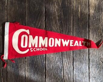 ON SALE - Vintage Commonwealth School Pennant - Vintage Red School Pennant - Vintage Commonwealth School Felt Pennant