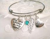 Always in My Heart Memory Bracelet Dad Memory Grandpa Sympathy Son Remembrance Jewelry In Memory of Mom or Grandmom Angel Wing Bracelet