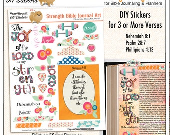 Printable Strength Bible Journaling Page Kit  (Print on Sticker or Copy Paper) Adhere into Bible margins or Planners