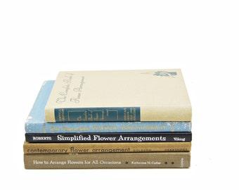 FLOWER ARRANGMENT Book Collection, Garden Book Set, Decorative Books, Gardening set, Beige Book , FLower arranging, Blue Old Books