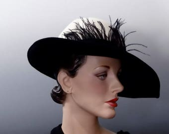 Vintage Fedora Cream Felt Crown with Black Brim and Feathers 1970's