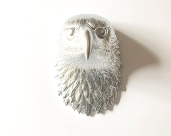 SILVER EAGLE Large Faux Taxidermy Bird Animal Head wall mount faux animal wall hanging metallic silver animal wall art eagle wall art