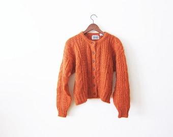 Mohair Cardigan / 90s Mohair Sweater / Cable Knit / Woman Cardigan Sweater / Rust Orange 90s Grunge Cardigan Medium