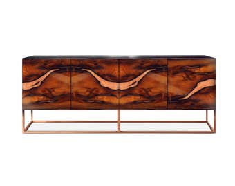 Sideboard OXARA. Luxury furniture. High gloss finish. Handmade furniture. Inlay furniture. Brass. Copper.