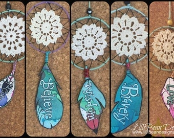 Hand Made Dream Catchers with powerful and inspirational words to encourage and support big dreams and tiny wishes FREE SHIPPING