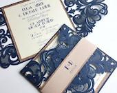 Laser cut wedding invitation custom Gatsby, double layered laser cut with handmade layered glitter bellyband {Broadway design Sku: BroSer01}