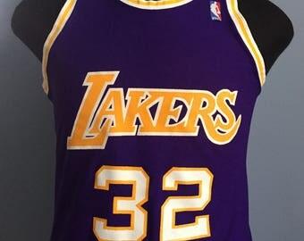 ... 80s Vintage Magic Johnson 32 Los Angeles Lakers nba basketball MacGregor  Sand-Knit jersey . a3d57934c