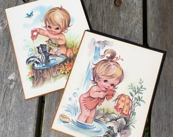 Vintage Outdoor Bathing Children with Skunk & Frog Baby Nursery Bathroom Decor Decoupage Wall Plaques Signed Coby