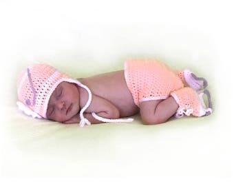 BABY GIRL HOCKEY, Girls Hockey Outfit, Peach Baby Crochet Hat, Baby Knit Hockey Hat, Hockey Baby Skates, Knit Peach Hockey, Baby Photo Prop