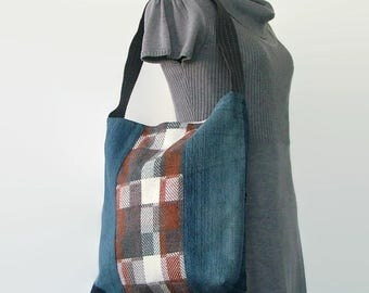 Upcycled Tote Bag, Repurposed Denim, Brown, Gray and Off-White, Interior Pockets, Book Bag, Upcycled Vintage Dress, Reclaimed Denim