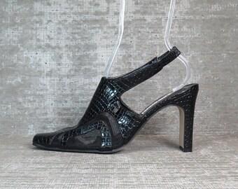 Vtg 90s Blk Mesh Avant Garde Cutout Sandals Clogs Mules 8M