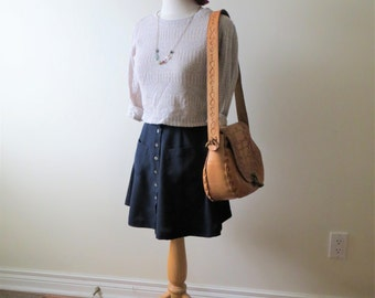 90s Esprit Skirt NAVY High Waist Button Down Circle Skirt Women's US Size XS Small
