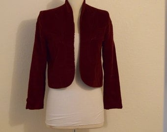 Maroon Velvet 'I. Magnin / 'Patty Woodard' /  Crop Bolero / Crop Jacket with Embroidery - Women's Extra Small  / Small