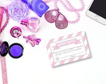 Princess Diaper Raffle, printable Diaper Raffle Ticket, Princess Baby Shower, Diaper Raffle Ticket, diaper raffle card, diaper raffle insert