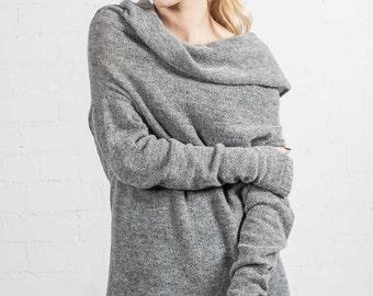 Alpaca Sweater/ Handmade Sweater/ Alpaca wool / Knitted sweater / Off shoulder sweater