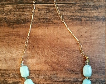 Blue glass beaded necklace