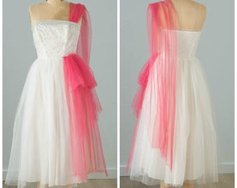 White and Hot Pink Cupcake Prom Dress