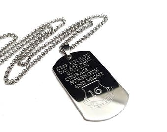 Officer dog tag + gifts for him + police dog tag + engraved dog tag + police academy gift