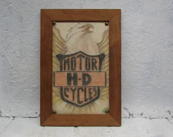 Harley Davidson Hand Made Sign on Fabric with Wood Frame and an American Eagle In The Background. Nice