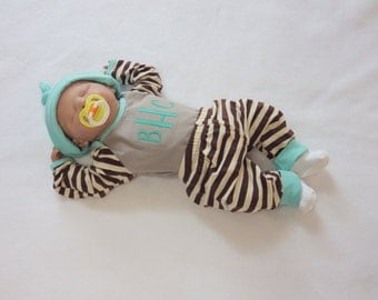 Baby Boy Coming Home Outfit. Monogram Shirt, Soft Knit Pants. Newborn Coming Home. Baby Boys' Clothing
