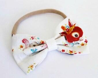 Retro Animal Fabric Bow Nylon Headband