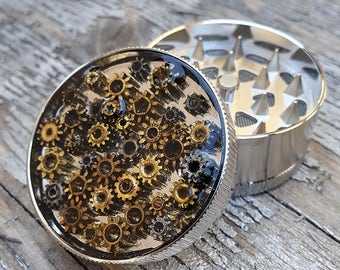 Steampunk Metal Herb Grinder - Steampunk Watch Flower Spice Crusher - mint grinder